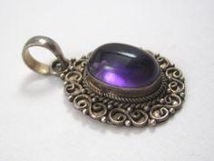 Ladies Sterling Silver .925 Oval Cut Purple Amethyst Gemstone Gem Pendant Filigree Style Stylish Unique Stunning Beautiful