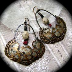 Regal Red artisan earrings by anvilartifacts