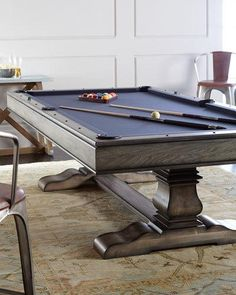Dining Room Table Converts To Pool Table And TV Is Behind Mirror - Pool table movers corona ca