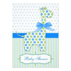 Blue and Green Giraffe Baby Shower Invitation