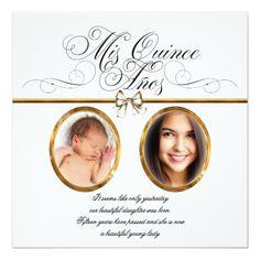 """White Gold Photo Quinceanera Invitations 5.25"""" Square Invitation Card"""