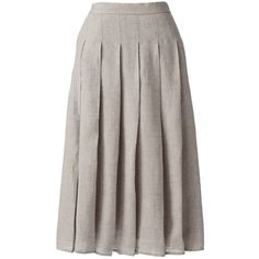Lands' End Women's Petite Linen A-line Skirt ($35) ❤ liked on Polyvore featuring skirts, tan, knee length a line skirt, beige skirt, lands end skirts, petite skirts and lands' end