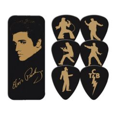 Elvis Gold Portrait Guitar Picks Tin - Play like the King with these 6 Elvis Presley Gold Portrait Guitar Picks Tin.