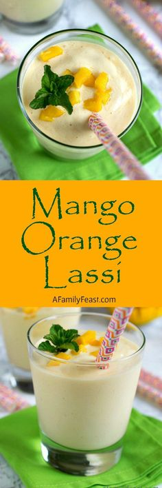 Mango Orange Lassi - A refreshing yogurt drink with sweetness from mango and… (spicy mango cocktail) Yummy Drinks, Healthy Drinks, Delicious Desserts, Yummy Food, Healthy Smoothies, Spicy Recipes, Indian Food Recipes, Cooking Recipes, Healthy Recipes