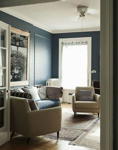 Muted teal - would look good with white and wood furniture as accessories if not on walls?