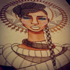 Badass Genius — Details… #art #artwork #nawden #sketch #woman...