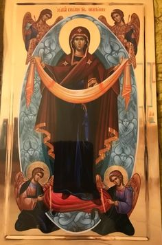 The Holy Protection of the Theotokos. Byzantine Art, Byzantine Icons, Religious Icons, Religious Art, Madonna, Assumption Of Mary, Church Icon, Religious Paintings, Russian Icons