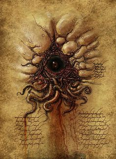 Esoteric Eye, by François Launet Necronomicon Lovecraft, Lovecraft Cthulhu, Hp Lovecraft, Arte Horror, Horror Art, Dark Fantasy Art, Dark Art, Le Kraken, Cthulhu Art