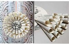 Image Detail for - Wreath made out of book pages. Process of wreath being made from book ...