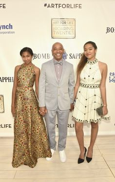 Russell Simmons attends his Art for Life fundraiser with daughters Aoki Lee and Ming Lee. Daddys Little Girls, Daddys Girl, Black Love, Black Is Beautiful, Black Celebrities, Celebs, Beautiful Family, Beautiful People, Russell Simmons