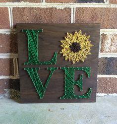 Sunflower Love String Art Wood Sign Home by CuseyCustomCrafts