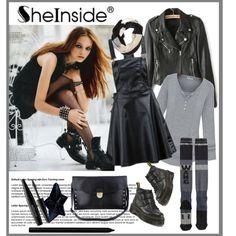 """Sheinside black"" by ruza-b-s on Polyvore"