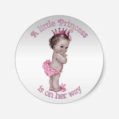 Shop Vintage Princess Baby Shower Classic Round Sticker created by GroovyGraphics. Baby Shower Vintage, Shabby Chic Baby Shower, Unique Baby Shower, Baby Shower Gifts, Baby Shower Princess, Baby Princess, Princess Theme, Princess Birthday, Baby Shower Supplies