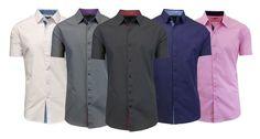 Mens Short Sleeve Slim-Fit Button-Down Shirt Contrast Trim