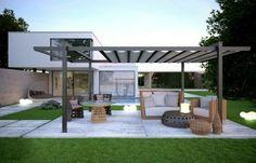 pergola alu autoportée, meubles en rotin, design originale, innovative