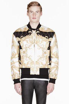 Versace Black   Gold Silk Quilted Bomber Jacket for men   SSENSE Bomber  Jacket Men, 5ea6f9993d3