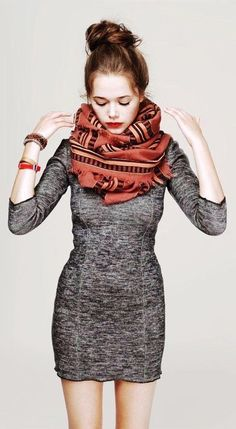 Bold scarf with  simple dress