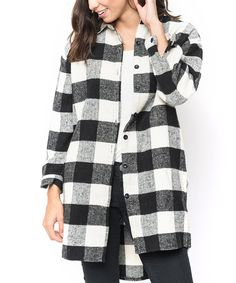 Another great find on #zulily! Black Oversize Buffalo Plaid Button-Up #zulilyfinds