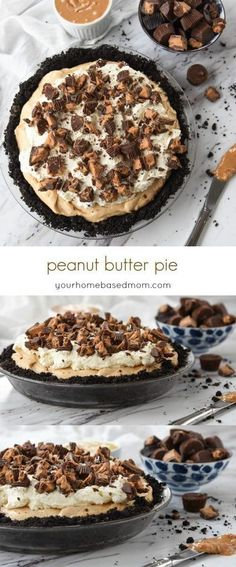 This Peanut Butter Pie Recipe - This dessert is light and fluffy and full of peanut butter goodness. Crushed peanut butter cups on top are the perfect topping!