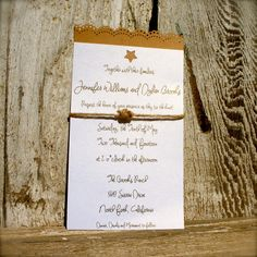 Wedding Invitation / Lace Star Outdoor Ranch Rustic Country Rope Knot Simple by FitzwaterTradingPost on Etsy https://www.etsy.com/listing/166296894/wedding-invitation-lace-star-outdoor