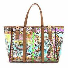 Prada Multicolor Print Vinyl Venice Beach Tote Handbag -  299.99 1714865fb9aa2