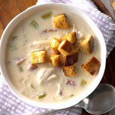 Slow Cooker Cordon Bleu Soup Recipe -I've taken this creamy slow cooker soup to potlucks and teacher luncheons, and I bring home an empty crock every time! In fact, my son's school rece Slow Cooker Soup, Slow Cooker Recipes, Crockpot Recipes, Easy Recipes, Group Recipes, Dinner Recipes, Dip Recipes, Dinner Ideas, Breakfast Recipes