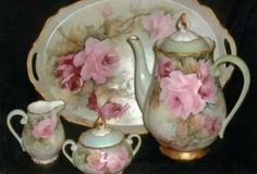 Roses on Coffee or Tea Set china painting study by porcelain artist and china painting teacher, Phyllis McElhinney