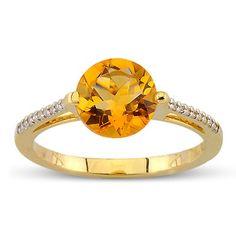 Fiery Round Cut Citrine Diamond Gemstone Ring In 14K Yellow Gold    $306.00