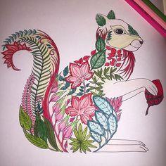 #art #artwork #book #boyama #brightcolors #brushpainting #coloring #color #çiçek #drawing #degrade #enchantedforest #flower #green #gizemliorman #kalem #kitap #kırmızı #leaf #MagicalJungl #painting #red #renkler #sincap #squirrel #terapi #therapy #yeşil #yaprak