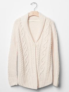 Cable shawl hi-lo cardigan