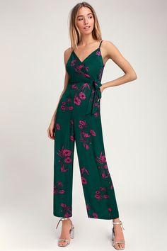 e7f6888c9ca Lexis Dark Green Floral Print Tie-Front Jumpsuit Printed Pants, Printed  Jumpsuit, Floral