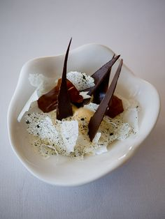 Ewe's milk ice cream, caramel, roasted walnuts, prune, Pedro Ximenez, chocolate bark, pulled toffee, vanilla milk skin