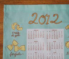 Pasta tea towel calendar by KatherineCodega