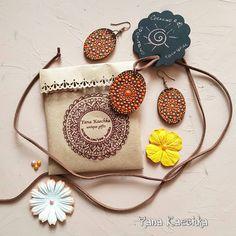 Warm chocolate style  3D painted set of earrings and pendant. Breath of autumn  byMandala Fairy | Фея мандал @yana_kaechka