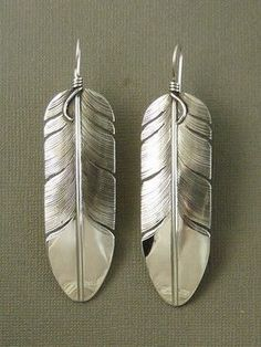 Large Sterling Silver Feather Earrings by Lena Platero, Navajo for $189.00 | Native American Jewelry