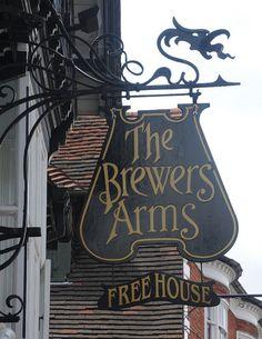 The Brewers Arms pub sign Lewes High Streeet East Sussex by pondhopper Pub Signs, Shop Signs, Storefront Signage, Uk Pub, Cafe Sign, Best Pubs, British Pub, Pub Crawl, Business Signs