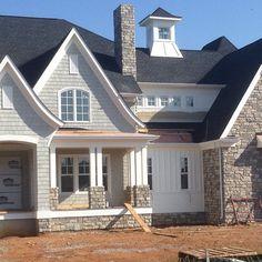 44 Stylish French Country Exterior For Your Home Design Inspiration - Home & DIY Café Exterior, Cottage Exterior, House Paint Exterior, Exterior House Colors, Exterior Design, Craftsman Exterior Colors, Stone Exterior, Craftsman Style, Craftsman Lake House