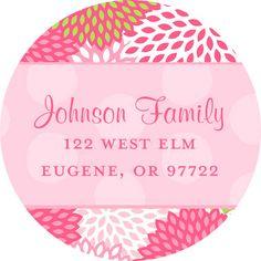 Pink Mums Round Address Labels