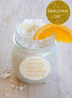 Orange Scrub Recipe  1 cup organic cane sugar  1/3 cup celtic sea salt  1/2 cup organic coconut oil  2-3 tablespoons almond oil  1 tablespoon Vitamin E  30 drops Orange Essential Oil