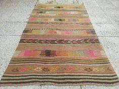 VINTAGE Handloomed  Colorful  Striped  Turkish Kilim Embroidery  Rug Carpet, Decorative Rug,Tribal Kilim Rugs,35.4x63  inch, Floor Kilim.