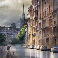 "WATERCOLORS/OIL АКВАРЕЛЬ/МАСЛО on Instagram: ""Поварская улица. Москва. Акварель продана."""