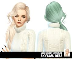 Miss Paraply: Skysims Bess hair retextured - Sims 4 Hairs - http://sims4hairs.com/miss-paraply-skysims-bess-hair-retextured/
