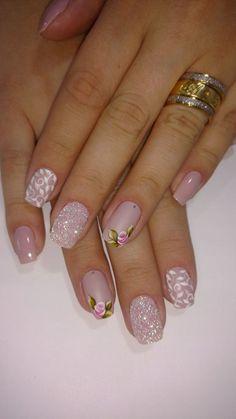 26 modelos de unhas decoradas com rosas unhas decoradas diferentes, unhas decoradas delicadas, unhas Beautiful Nail Art, Gorgeous Nails, Pretty Nails, Ongles Roses Clairs, Ongles Forts, Floral Nail Art, Glitter Nail Art, Stylish Nails, Creative Nails