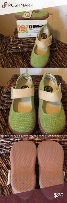 Livie and Luca Vegan Shoes-grass green Carta II Pristine condition; worn once. Textile upper and rubber sole. Spring like grass green color with drawn on button detailing. The interior lining is a love letter. This style is available for Spring 2017, but not this color. Livie and Luca Shoes
