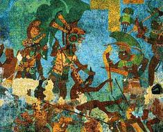 Bonampak mural painting. This mural shows scenes of battle. These paintings date back from 100 A.D. and are one of the oldest Maya paintings discovered.