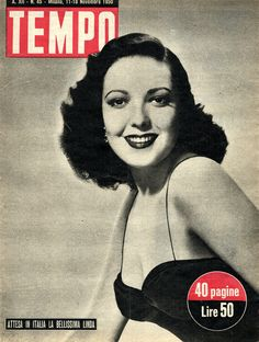 """Linda Darnell: """"The very beautiful Linda is expected in Italy"""" (11th November 1950)."""