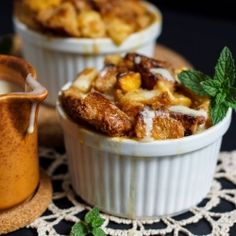 Peach Bread Pudding with Bourbon Cream Sauce. Try making with Jimmy John's Day Old Bread!