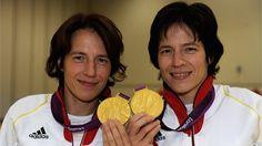 Sarah Storey of Great Britain celebrates gold with her nephew Gethin Crayford