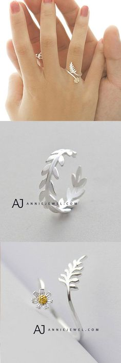 LOVE! SILVER RING BRANCH FLORAL LEAVES ADJUSTABLE RING WRAP GIFT JEWELRY