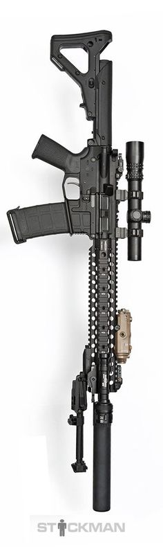 Centurion Arms upper and rail, Nightforce scope, SureFire Scout Light, AXTS lower, Magpul furniture, Bobro bipod, and Advanced Armament Corp. can. By Stickman